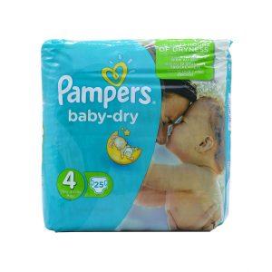 پوشک سایز 4 پمپرز مدل baby dry بسته 25 عددی