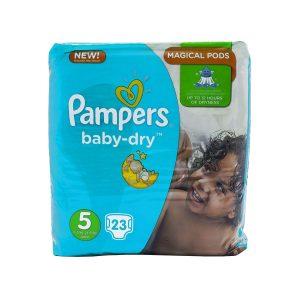 پوشک سایز 5 پمپرز مدل baby dry بسته 23 عددی