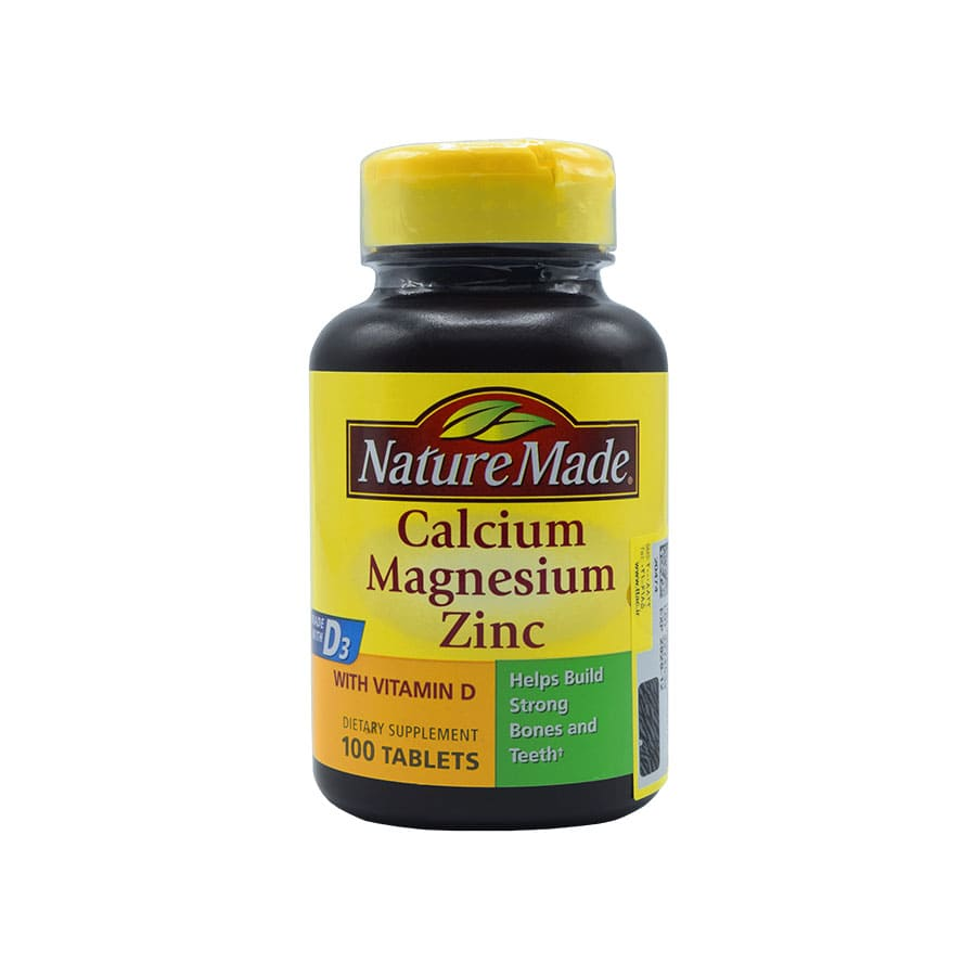 قرص کلسیم منیزیم زینک + ویتامین D نیچرمید 100 عددی