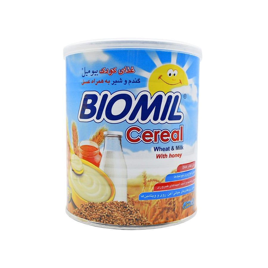 غذای کودک بیومیل سرآل گندم و شیر به همراه عسل 400 گرم