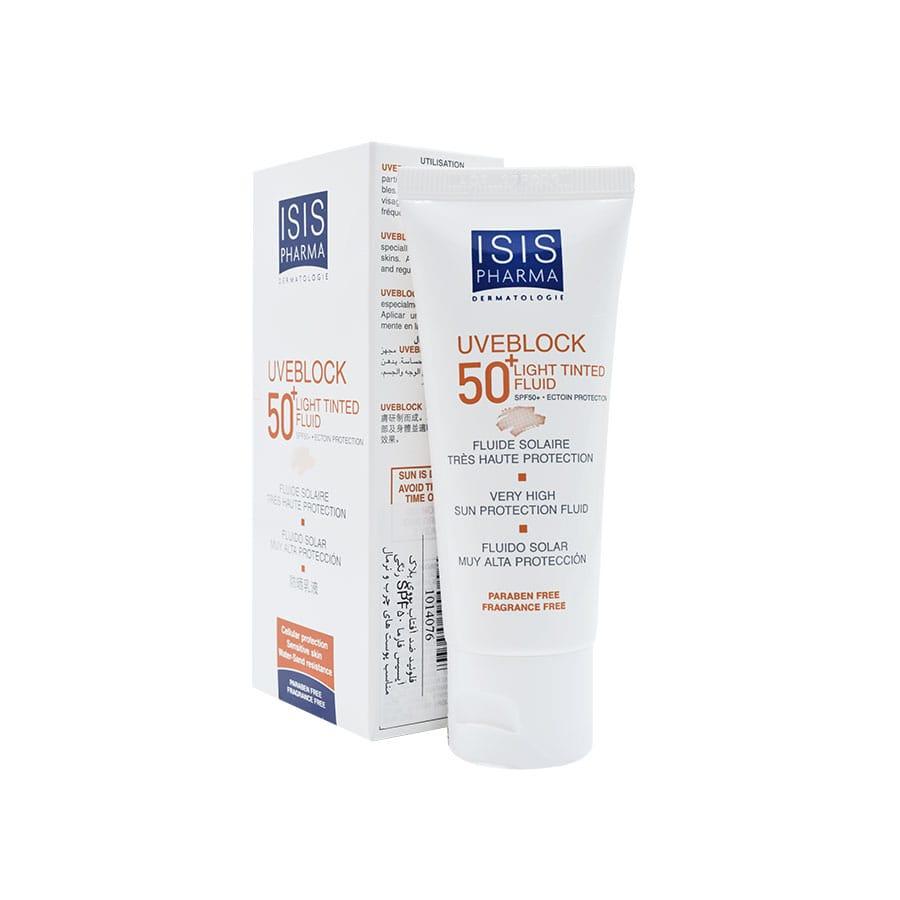 فلوئید ضد آفتاب یووی بلاک آیسیس فارما SPF50 رنگی مناسب پوست های چرب و نرمال 40 میلی لیتر