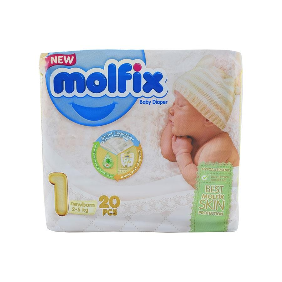 پوشک مولفیکس سایز ۱ مخصوص نوزادان ۲ تا ۵ کیلوگرم 20 تایی