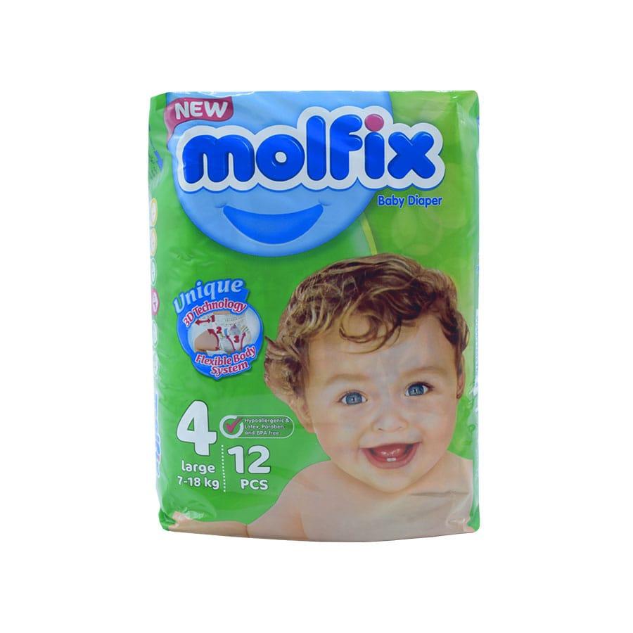 پوشک مولفیکس سایز 4 بزرگ مخصوص کودکان 7 تا 18 کیلوگرم ۱2 تایی