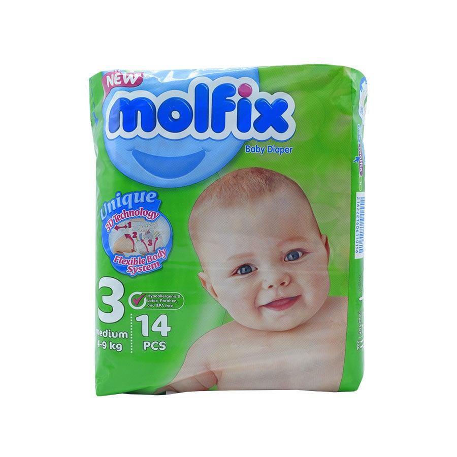 پوشک مولفیکس سایز ۳ متوسط مخصوص کودکان ۴ تا ۹ کیلوگرم ۱۴ تایی