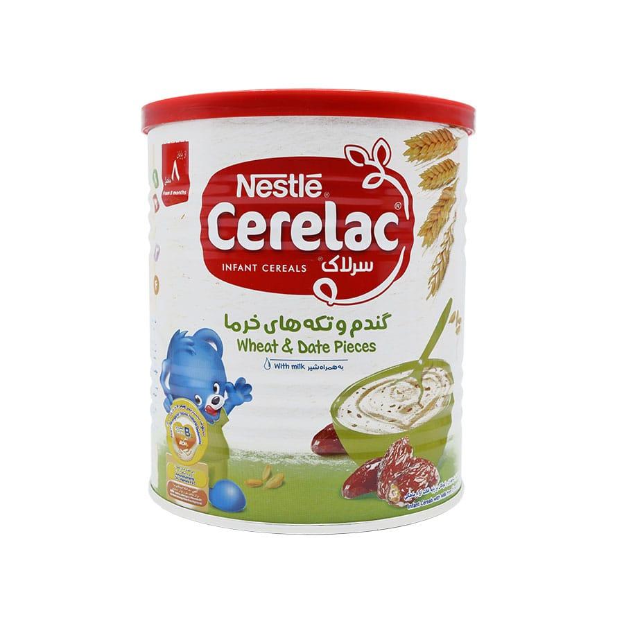 سرلاک گندم و تکه های خرما به همراه شیر نستله 400 گرم