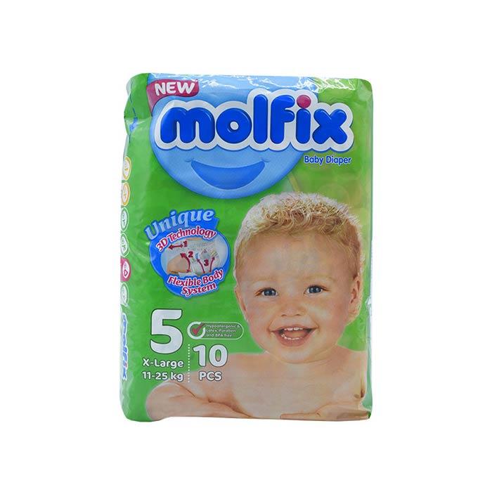 پوشک مولفیکس سایز 5 خیلی بزرگ مخصوص کودکان 11 تا 25 کیلوگرم ۱0 تایی
