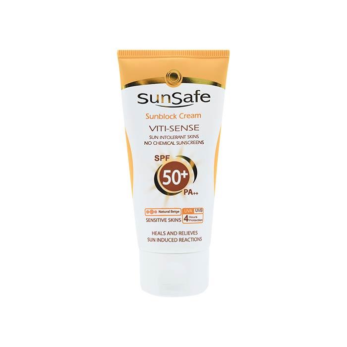 کرم ضد آفتاب SPF50 فاقد جاذب های شیمیایی سان سیف 50 گرم
