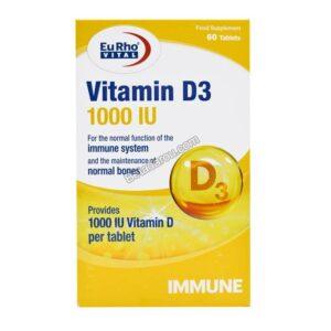 قرص ویتامین د3 یوروویتال 60 عددی