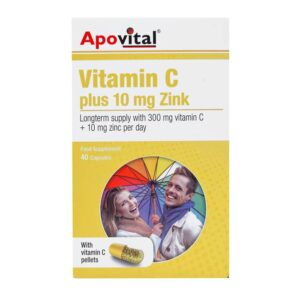 کپسول ویتامین C پلاس 10 میلی گرم زینک آپوویتال 40 عددی