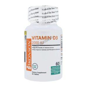 قرص ویتامین د3 برونسون 2000 واحد 60 عددی